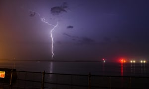 Storm over Kent on 22 June; the London and south-east region is the most prone to thunder.