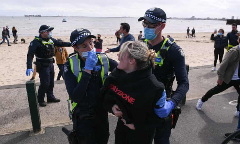 Victorian police in St Kilda, Melbourne, on Saturday