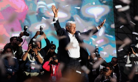 Andrés Manuel López Obrador celebrates his victory in Mexico City, Mexico on 1 July 2018.
