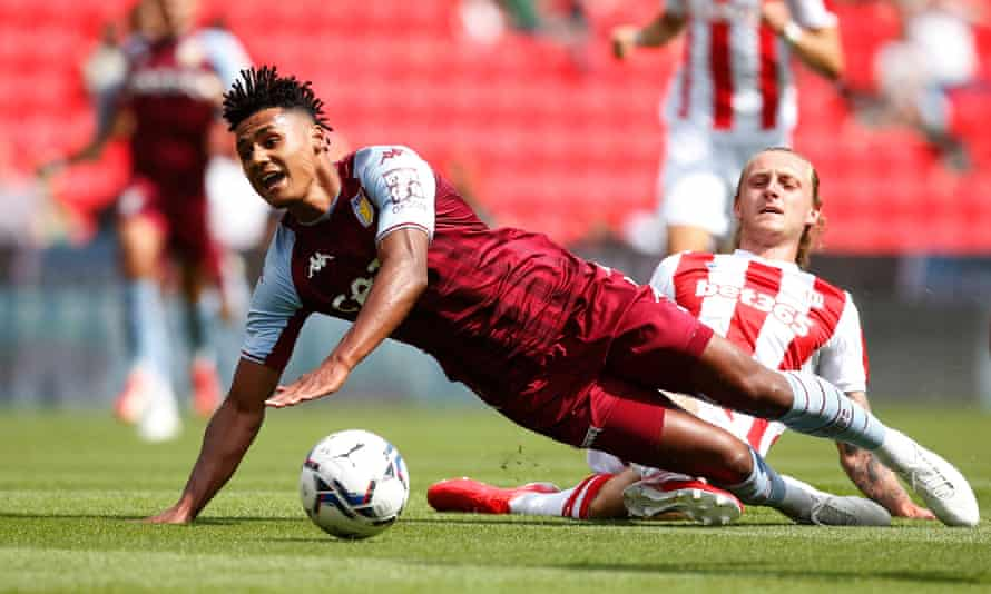 Ollie Watkins taking a tumble in a friendly against Stoke