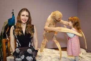 Patricia Piccinini with her work The welcome guest.