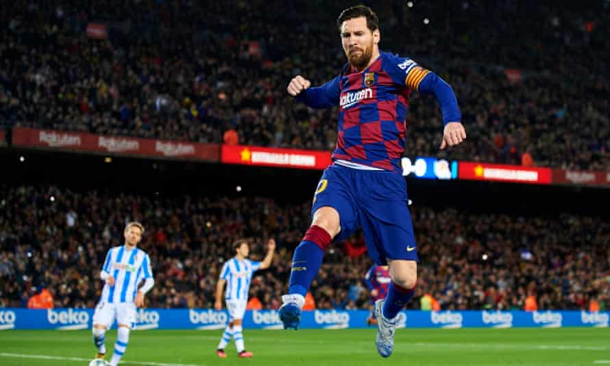 Lionel Messi after his penalty gave Barcelona the lead against Real Sociedad.