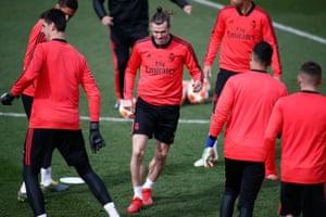 Gareth Bale during Madrid training on Monday.
