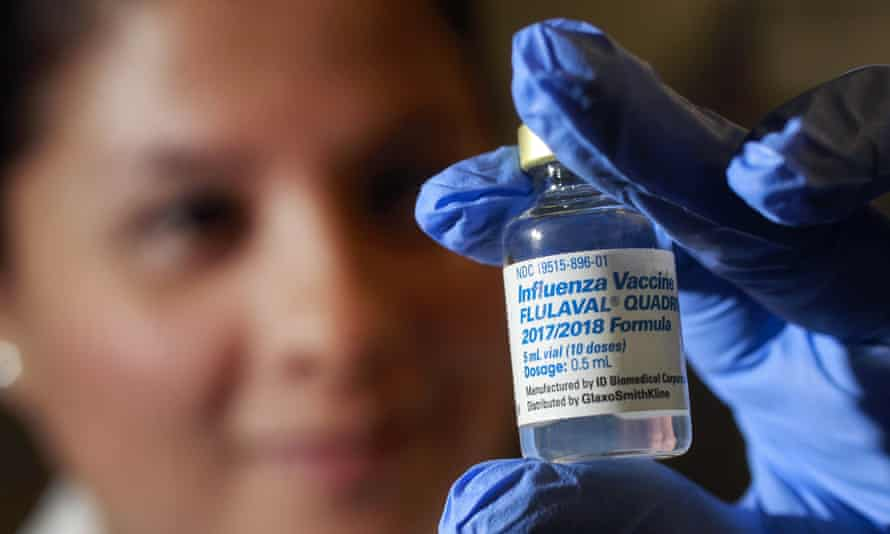 Flu vaccine photocall, San Diego, USA