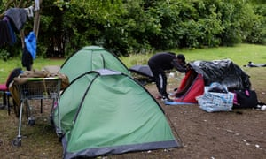 The Wrexham homeless camp – the town has a growing problem with use of the drug.