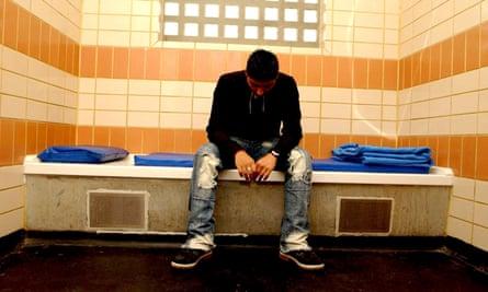 A man in policy custody