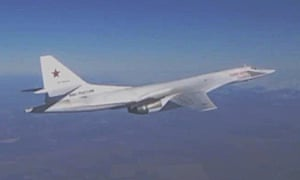 A Russian Tupolev long-range bomber ahead of carrying out airstrikes against Isis in Syria.