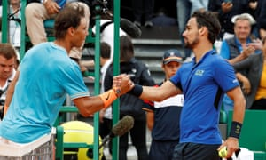 Fabio Fognini (right) beat the world No 2 Rafael Nadal for the loss of only six games.