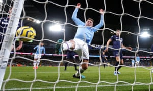 Manchester City's Aymeric Laporte stretches to toe Rodri's header in, but the Spaniard's effort didn't need any help as it went in off the post.