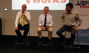 David Leyonhjelm, Malcolm Roberts and Andrew Laming at a politics in the pub event held by LibertyWorks, a libertarian thinktank with links to Leyonhjelm's Liberal Democratic party and One Nation.