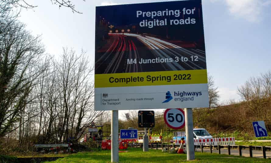 A sign on an M4 slip road in Berkshire. The M4 is being upgraded to a smart motorway, with the hard shoulder converted to a traffic lane.