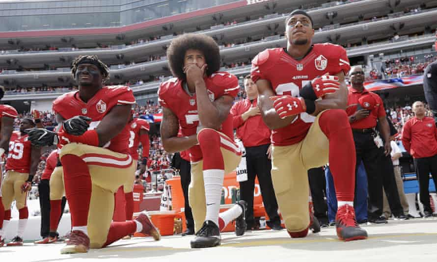 Colin Kaepernick (second left) led the 49ers to a Super Bowl appearance