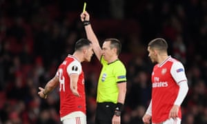 Ruddy Buquet added Granit Xhaka to his list of yellow cards in the group stages.