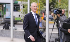 Acting AMP boss Mike Wilkins arrives at the royal commission hearing in Melbourne on Tuesday.