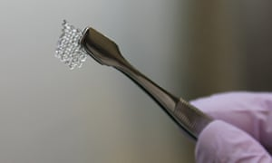 A scientist holds a scaffold for a bioprosthetic mouse ovary made of gelatin.