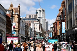 A general view of crowds of shoppers on Briggate in Leeds