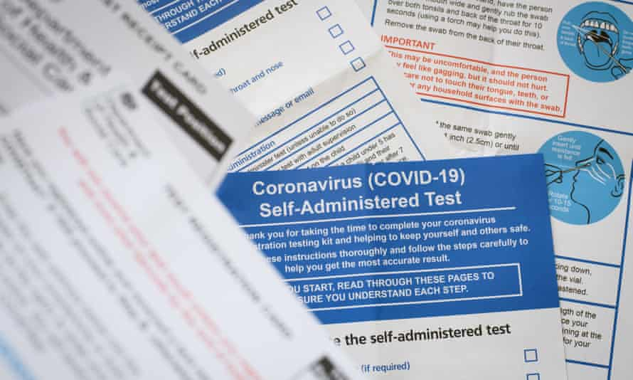 The documentation and instructions from a Covid-19 self-administered test kit provided by the Department of Health and Social Care