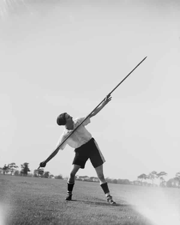 Lily Parr practises the javelin as part of her training with Preston Ladies, on 15 September 1938.