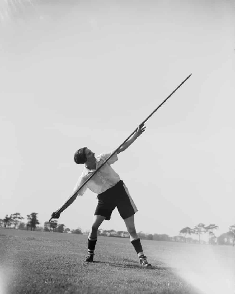Lily Parr practises with a javelin as part of her training with Preston Ladies