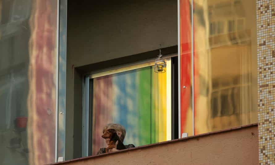 A building painted with the LGBT flag colours as part of the pride month celebrations in Sao Paulo.