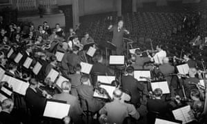 Bruno Walter with the Vienna Philharmonic Orchestra in the Usher Hall, Edinburgh, 8 September 1947.