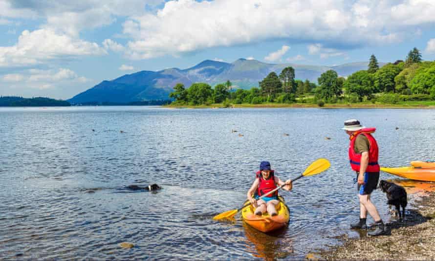 Kayaking on Derwentwater in the Lake District.