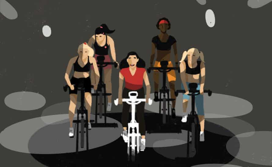 Illustration of a spin class