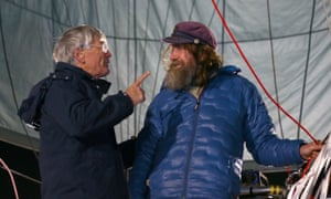Dick Smith and Fedor Konyukhov talk before lift off on Tuesday.