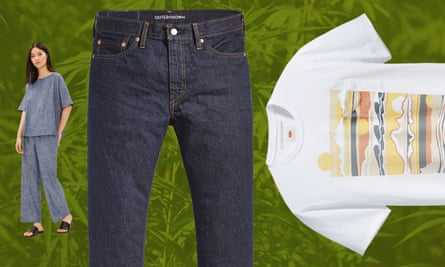From left to right: a hemp outfit by Eileen Fisher and Levi's X Outerknown jeans and T-shirt.