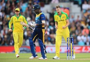Jason Behrendorff celebrates taking the wicket of Thirimanne.