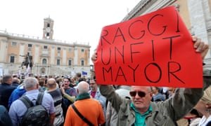 Many protesters blamed Rome's mayor Virginia Raggi for the mess the city is in.
