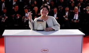 Philippino actor Jaclyn Jose poses with her best actress award for Ma'Rosa