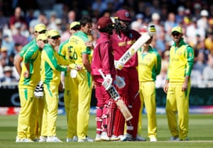 Chris Gayle asks for his third review of his short innings.