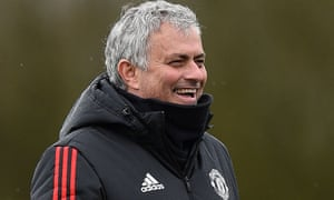 José Mourinho oversees training as Manchester United prepare to face Sevilla in the Champions League