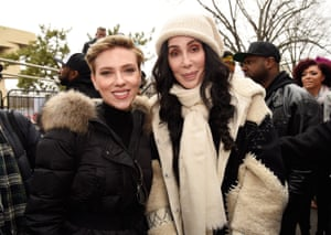 Scarlett Johansson and Cher attend the rally in Washington DC