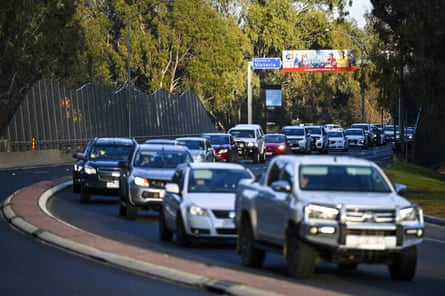 A traffic jam is seen ahead of a border checkpoint in Albury on Wednesday.
