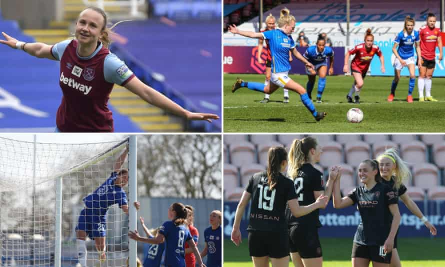 Clockwise from top left: Martha Thomas of West Ham; Brighton's Inessa Kaagman scores a penalty; Caroline Weir celebrates her goal against Tottenham; Sam Kerr after scoring for Chelsea.