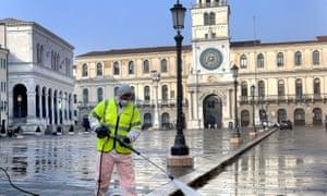 Clean sweep … the empty Piazza dei Signori, Padua.