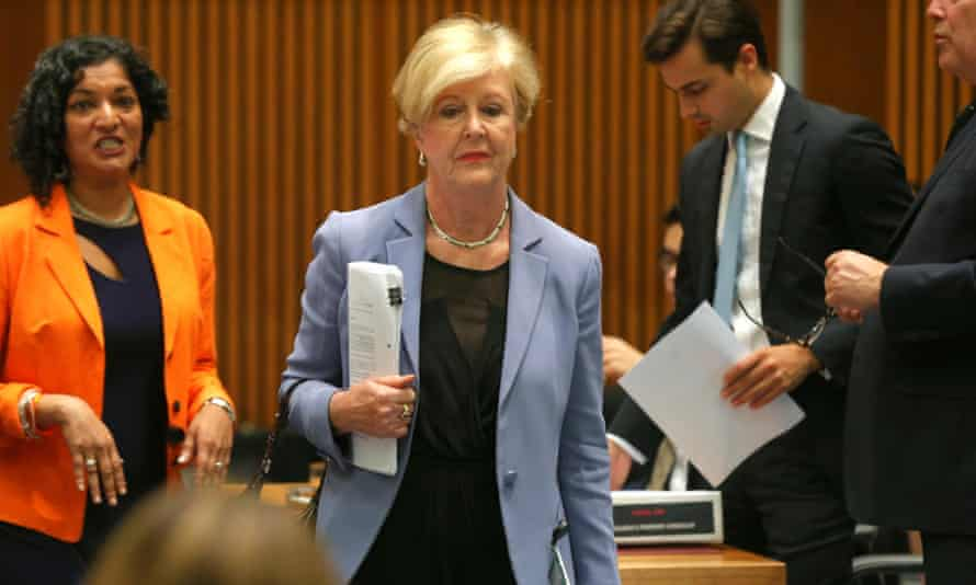The President of the Human Rights Commission, Gillian Triggs, leaves after an all-day grilling by a Senate committee.