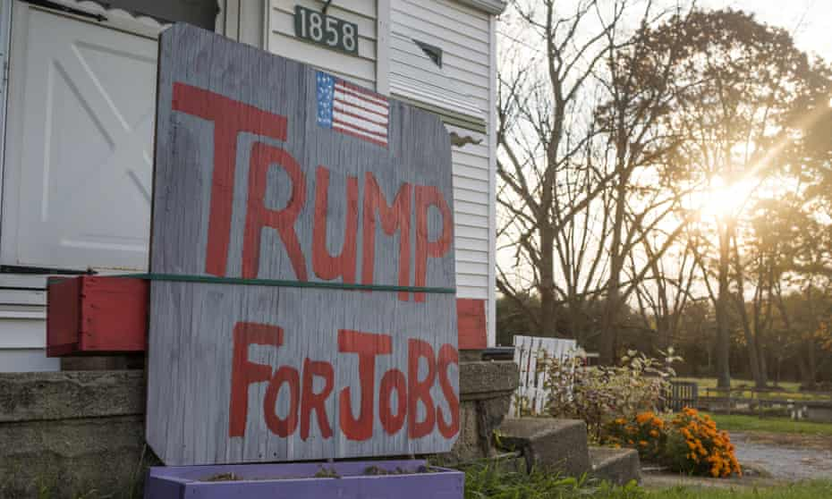 A sign in Columbiana County, Ohio, shows support for Donald Trump on the day of the US presidential election.
