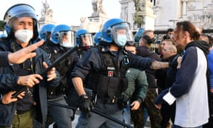 Protesters scuffle with police in Rome last month, during a demonstration against government restrictions over the Covid-19 pandemic.