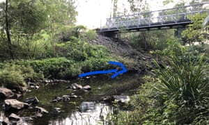 Brisbane's Kedron Brook footbridge upstream, where there has been a platypus sighting