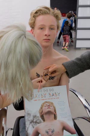 Gus prepares to recreate a Gayby Baby film still shot two years prior, as part of an upcoming 2016 Mardi Gras photo exhibition, Gaybies: We are not a Hypothetical.