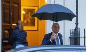 The chancellor, Sajid Javid, leaves No 11 Downing Street