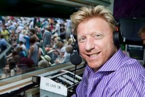 Boris Becker commentating at Wimbledon 2011.