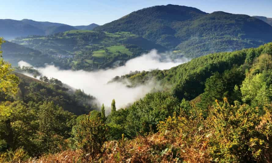 Looking down on cloud in the Baztan Valley in the Spanish Pyrenees