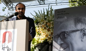 The Iranian film director Asghar Farhadi speaks at a tribute for Kiarostami.