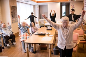 Clients do exercises at the Shojuen Day Service Centre Mergrand