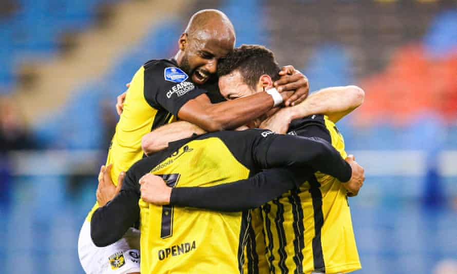 Vitesse celebrate their 1-0 win over Feyenoord on 20 December. They are in fourth place in the Eredivisie, behind the Rotterdam club on goal difference.