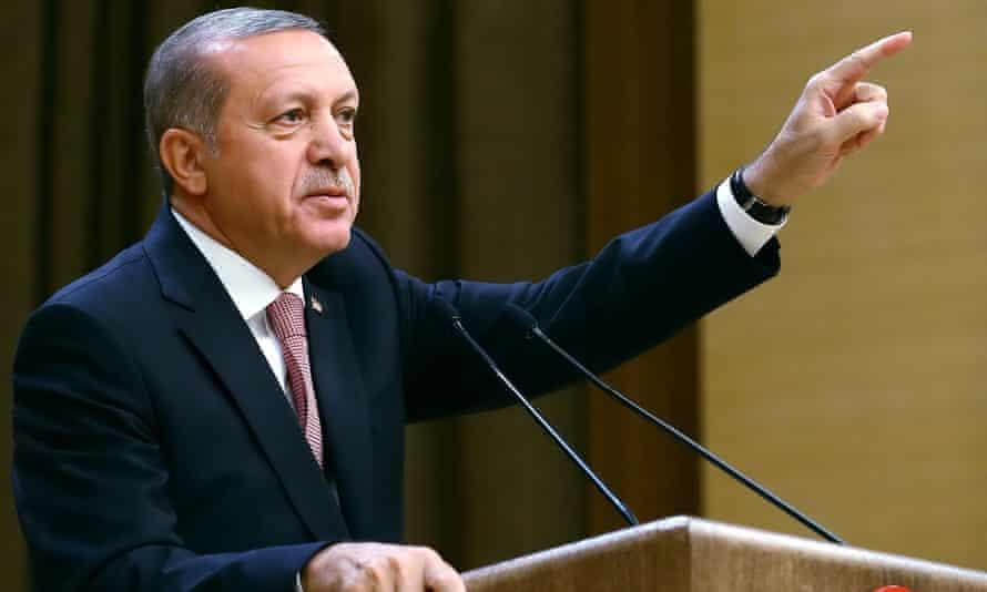 Turkey's President Erdoğan speaks during an event for foreign investors, in Ankara, on Tuesday, 2 August.